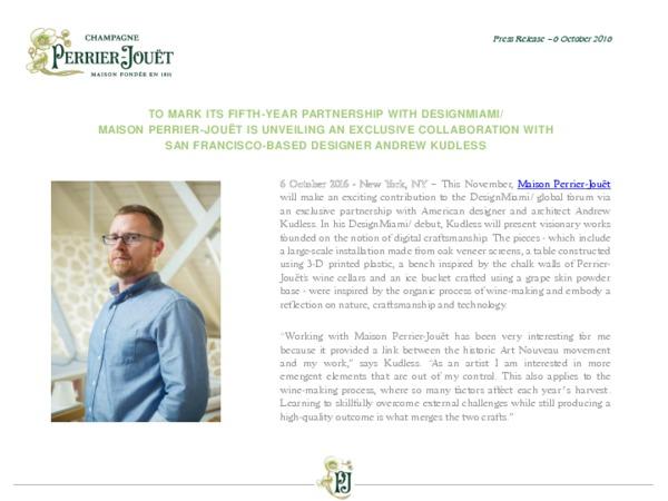 Perrier-Jouët press release - Announcement DesignMiami 2016