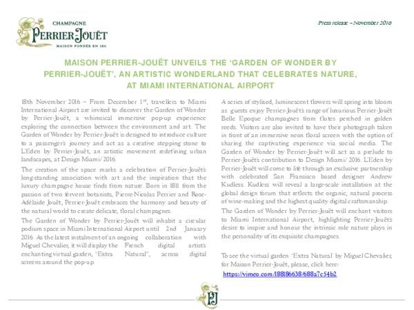 Travel retail press release Perrier-Jouët The Garden of Wonder