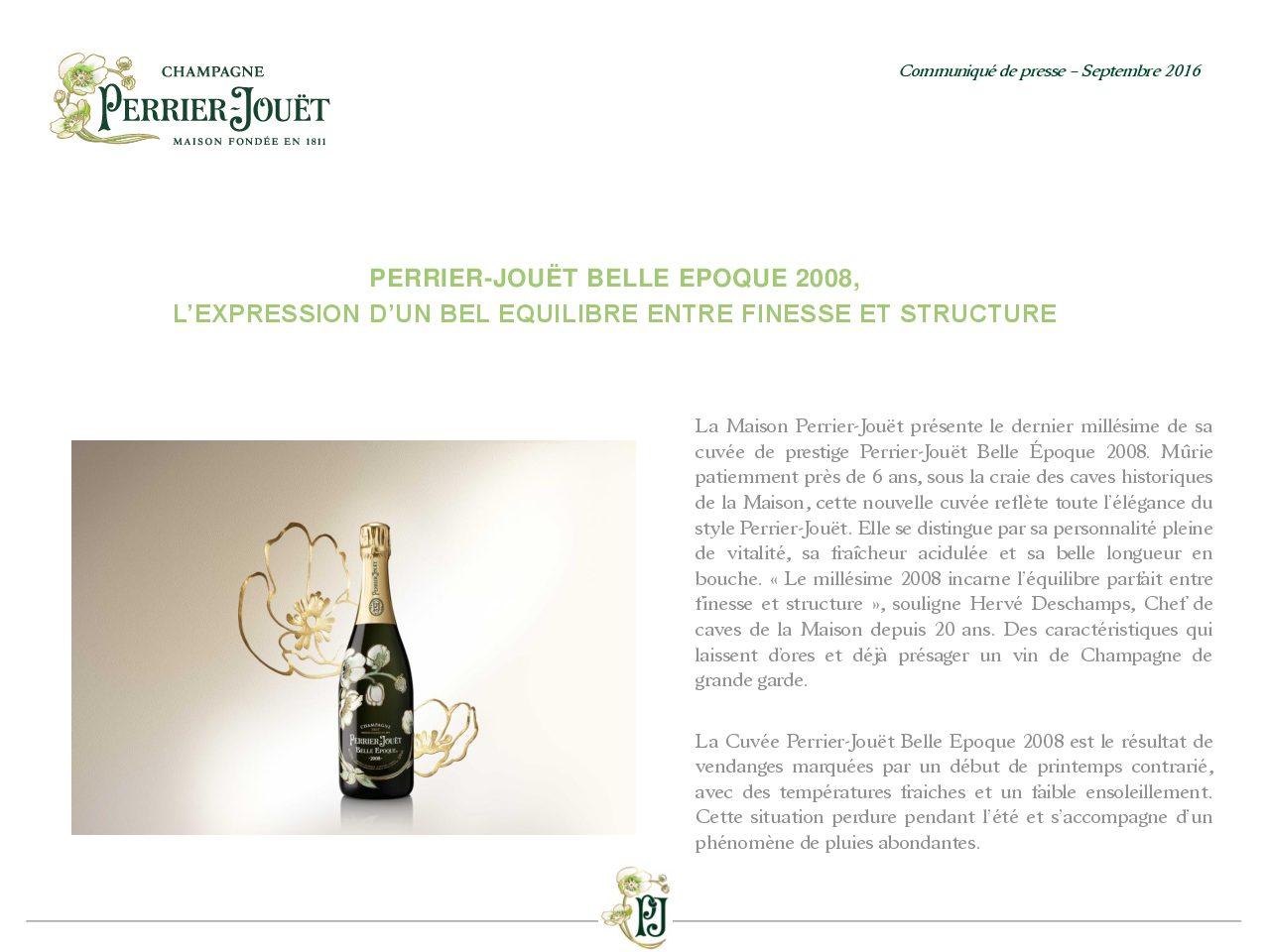 Communiqué de presse Perrier-Jouët Belle Epoque 2008