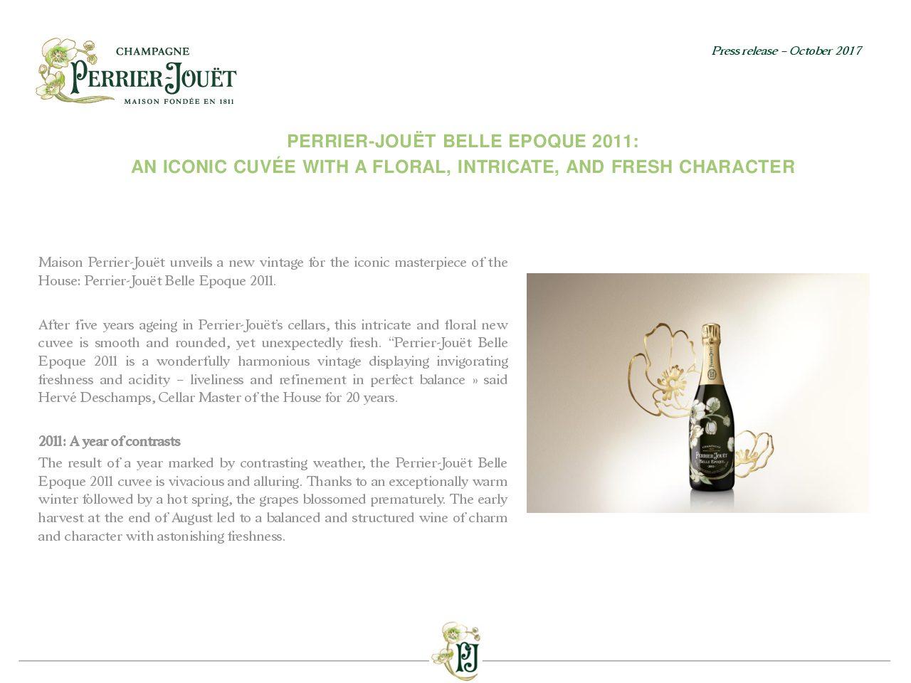 Press Release Perrier-Jouët Belle Epoque 2011