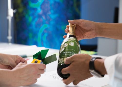 Luftwerk working with the Perrier-Jouët Belle Epoque bottle