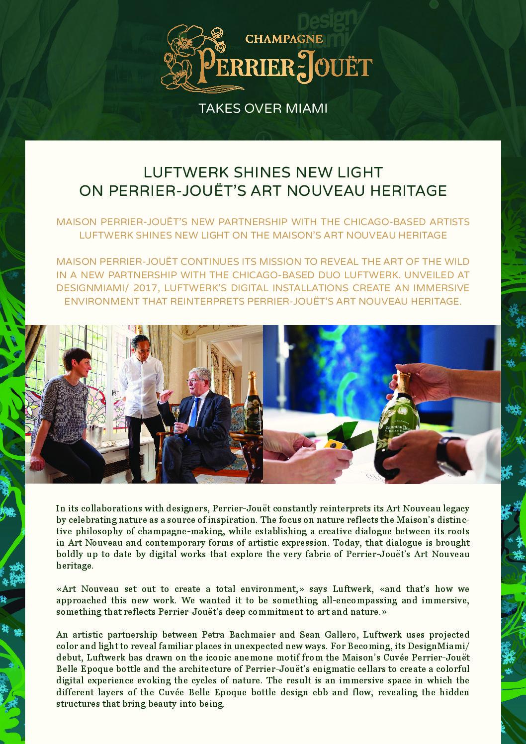 Press release Perrier-Jouët Luftwerk Collaboration