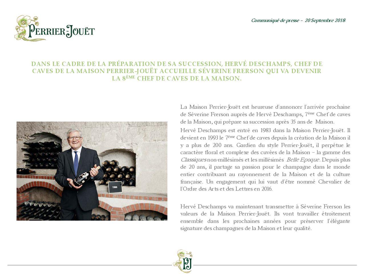 Communique de presse Perrier-Jouët - Arrivée Séverine Frerson