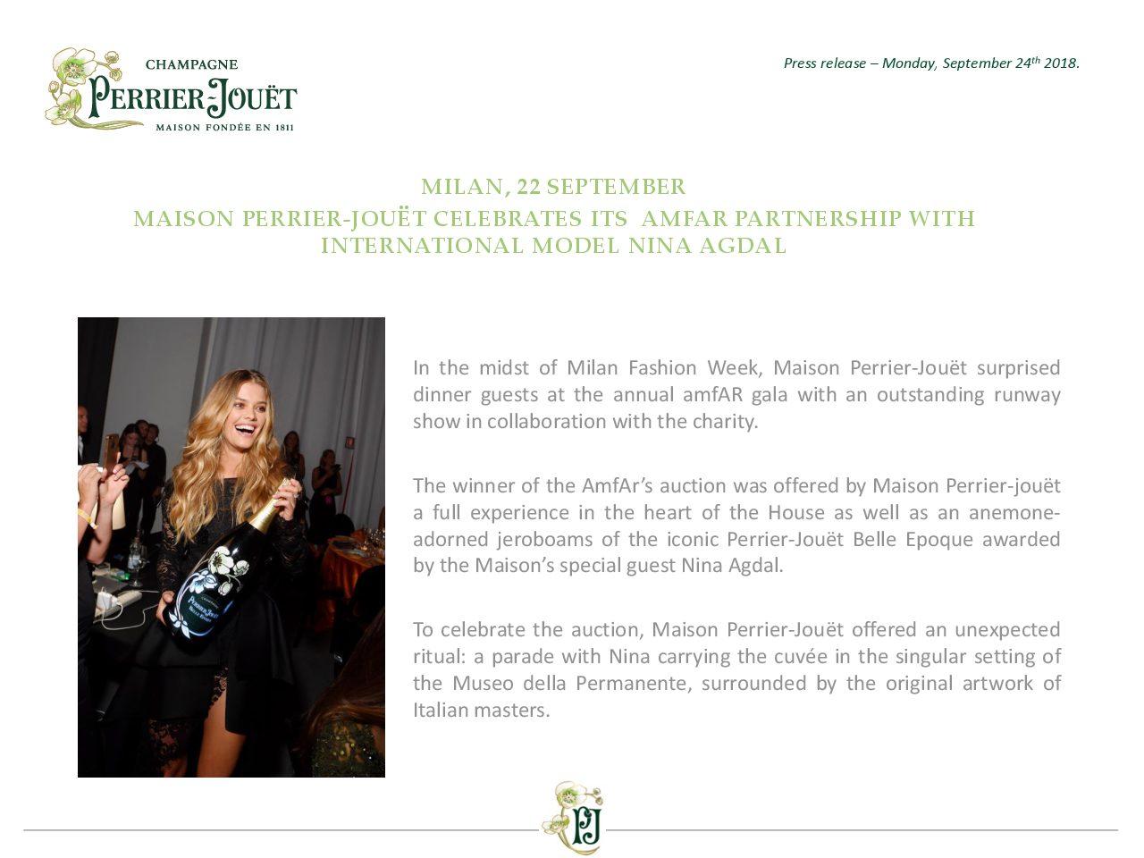 Press Release Maison Perrier-Jouët celebrates its amfar partnership with international model nina agdal
