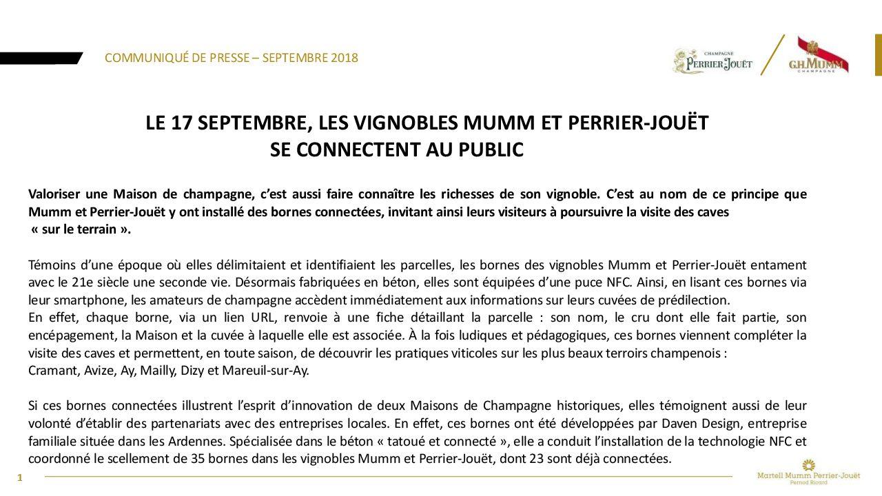 Communique de presse Vignobles Mumm  Perrier-Jouet bornes connectees