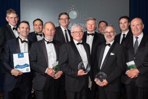 Herve Deschamps with fellow Chefs de caves receiving Lifetime Achievement Awards