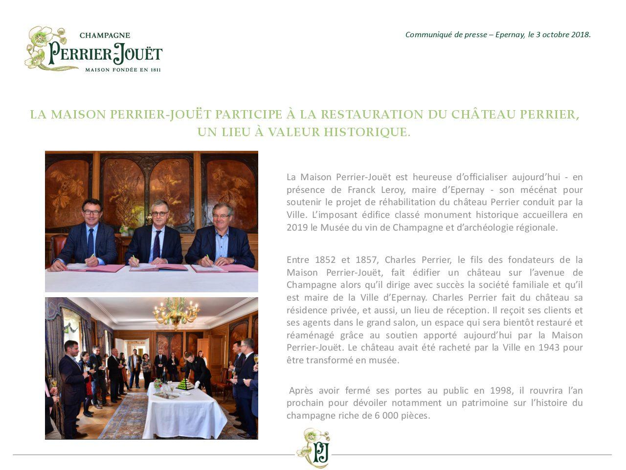 Communiqué de Presse - La Maison Perrier-Jouet participe à la restauration du chateau Perrier un lieu à valeur historique